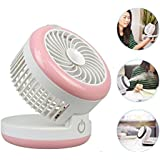 Misting Mini Fan,NUTK 3 in 1 Fan+Humidifier+Power Bnak,Portable Desktop Rechargeable USB Desk Cooling Fans ,Personal Water Spray Fan for Girls Womens Office.Pink