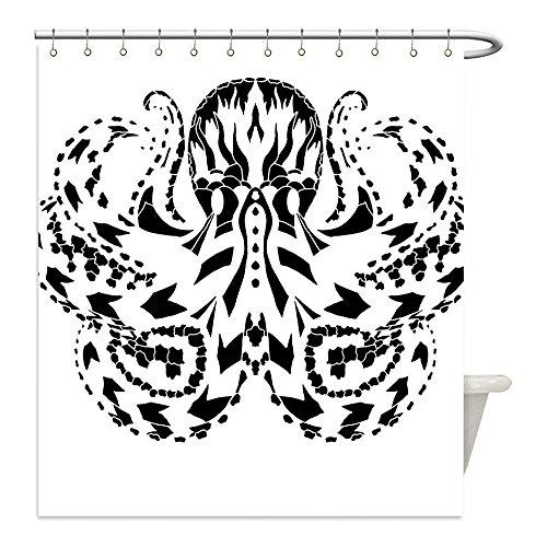Sea Monster Costume Patterns (Liguo88 Custom Waterproof Bathroom Shower Curtain Polyester Kraken Decor Legendary Nordic Sea Monster Kraken with Ethnic Effects Myth Totem Artful Design Black Decorative bathroom)