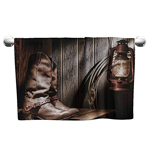 (duommhome Western Decor Soft Bath Towel Dallas Cowboys and Lantern on a Bench in Vintage Ranch Nostalgic Folkloric Print W19 x L19 Brown)