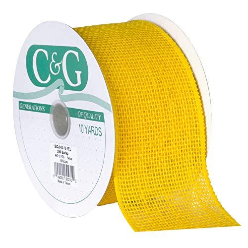 Berwick Offray DWI Burlap Wired Edge Ribbon-2-1/2 Wide X 10 Yards Ribbon, Yellow
