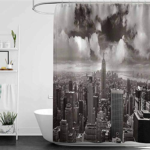 homecoco Shower Curtains Teal and Brown New York Decor,Urban Decor Cityscape of Skyscrapers and The Cloudy Sky Digital Print,Grey and Black W72 x L72,Shower Curtain for Men