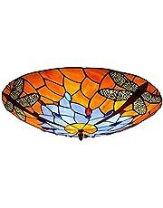 Taklampa, badrumsbelysning Takljus, färgat glas hängande ljus tiffany taklampa, spolfäste takljus med jeweled dragonfly design handgjord färgad glas lampa skugga, för vardagsrum sovrum korridor takbel