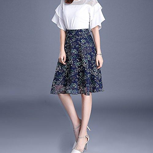 Casual Taille couleur WLM Noire de Wear Vraie Mousseline des Dress Haute Jupe Party Soie Beach en Jupe Femmes Summer Imprim agaqx7wf
