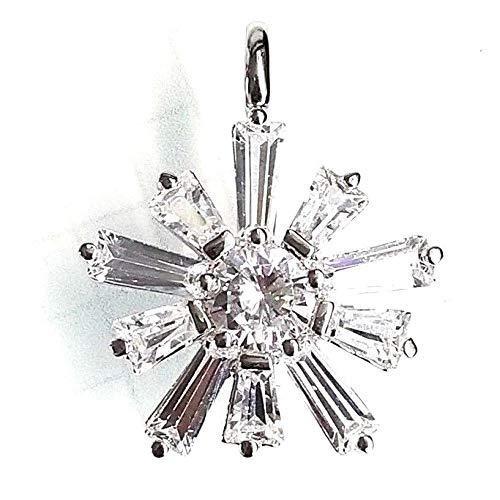 - Brilliant CZ Snowflake Pendant w/Cubic Zirconia Baguettes .925 Sterling Silver ВК-153