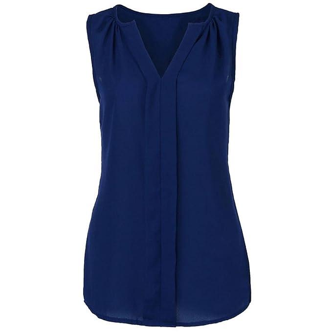 Chaleco de Cuello Redondo con Cuello en V para Mujer, Camisa Blusa sin