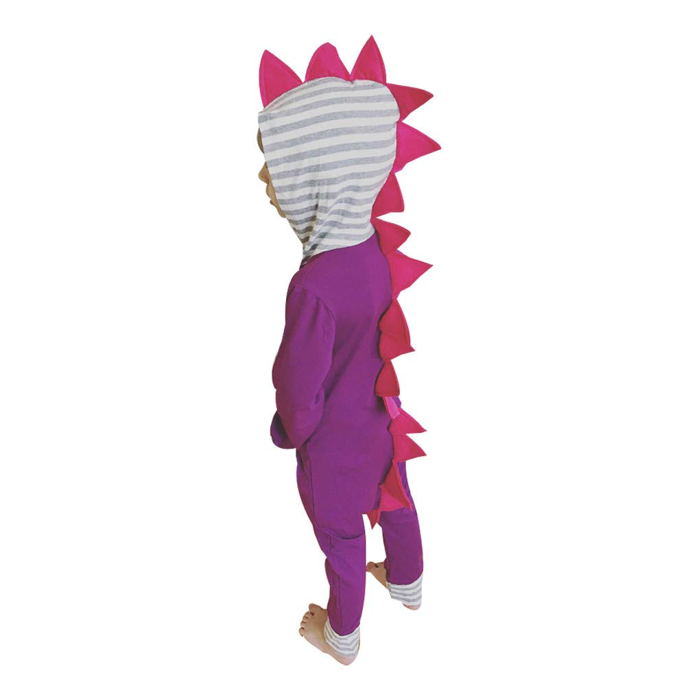 Fheaven (TM) Jumpsuit Romper Baby, Little Girl Boy Autumn Winter Striped 3D Dinosaur Hooded Romper Jumpsuit Clothes (2-3 Years, Purple)