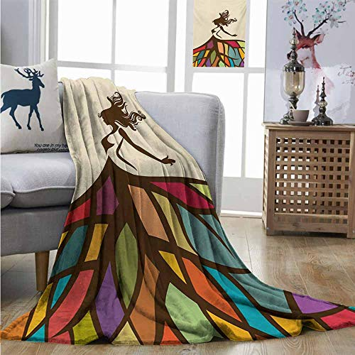 Homrkey Digital Printing Blanket Youth Drawing of a Young Woman Figure with a Puffy Colorful Artistic Skirt Fashion Theme Blanket for Sofa Couch Bed W60 xL91 Multicolor