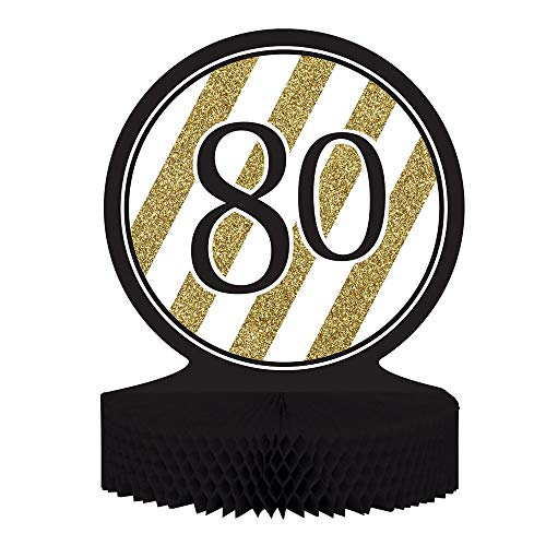 80th Birthday Party Decorations Centerpiece Decorations with Paper Honeycomb Base Black and Gold Tableware the Black and Gold Collection of Tableware and Party Decor Shines on with Sparkling Golden Stripes
