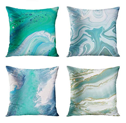 ArtSocket Set of 4 Throw Pillow Covers Teal Abstract Bright Colorful Turquoise Blue Purple Violet Swirl Paint Agate Pattern Decorative Pillow Cases Home Decor Square 20x20 Inches Pillowcases