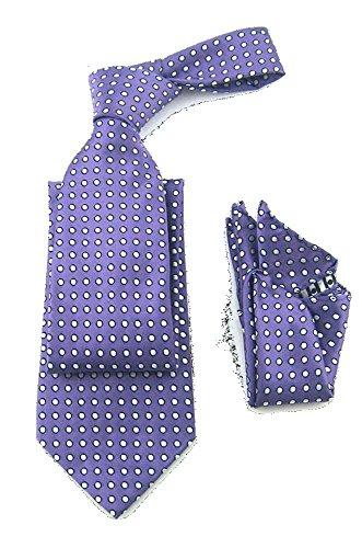 (Mens Lavender Purple & White Polka Tie Necktie & Pocket Square Set)
