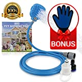 NYO Pet Shower Sprayer: All-In-One Strap-on Handheld Pet Bathing Wash/Massage Tool for Shower, Bath Tub, or Outdoor Garden Hose Plus Pet Grooming Glove
