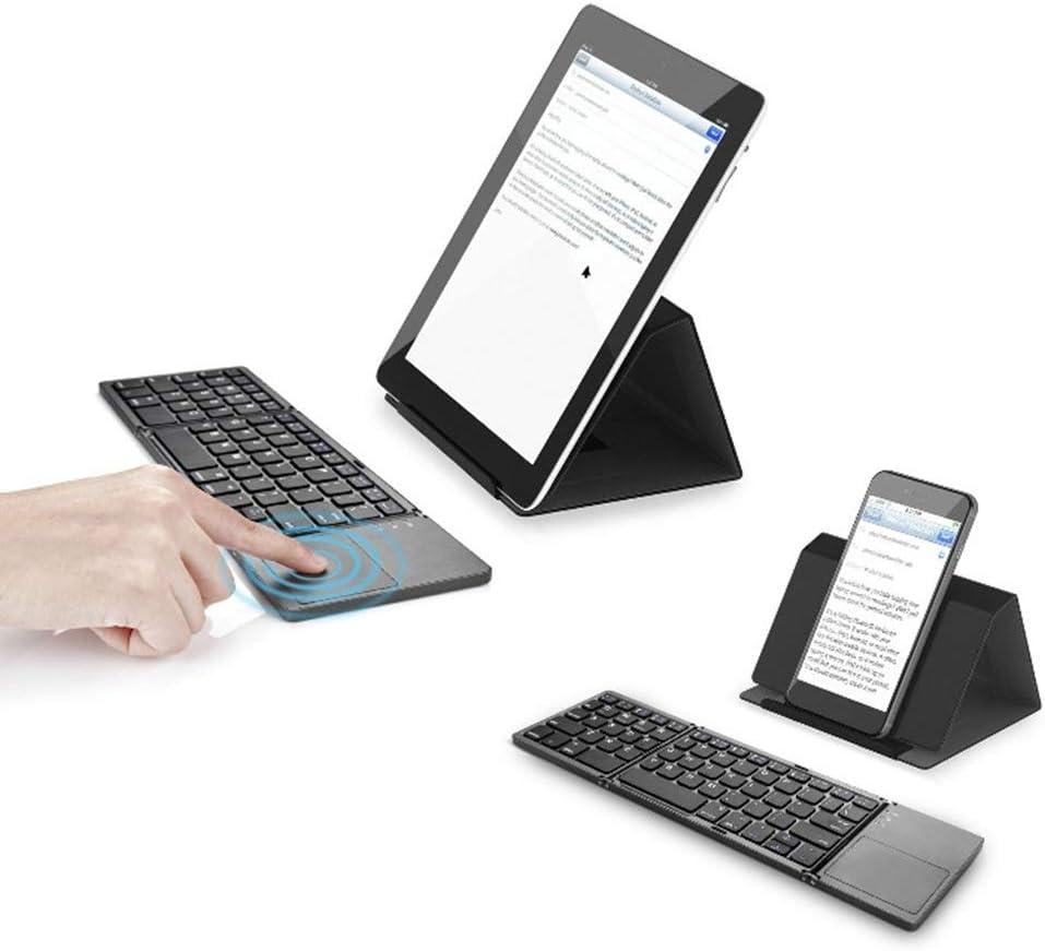 #N/A Clavier Bluetooth Pliable sans Fil Mince avec Pavé Tactile - Noir Argenté