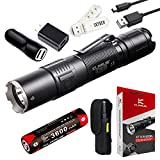 Klarus XT2CR 1600 Lumens CREE XHP35 HD E4 LED Multi-mode Dual-switch USB Rechargeable Tactical Flashlight, with 1 x 18650 Battery,Car Charger,Wall Adapter and SKYBEN USB Light