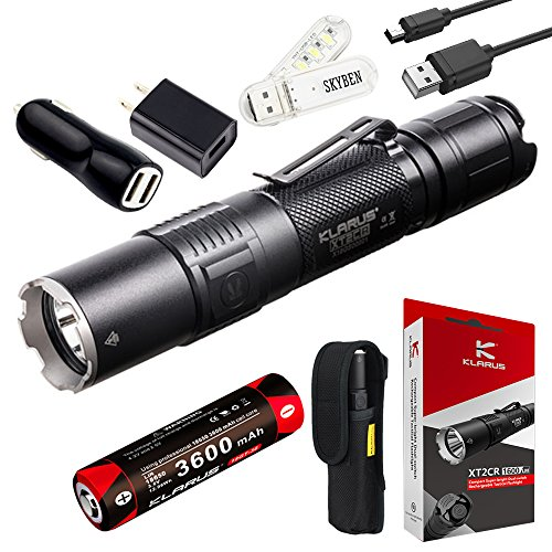 Klarus XT2CR 1600 Lumens CREE XHP35 HD E4 LED Multi-mode Dual-switch USB Rechargeable Tactical Flashlight, with 1 x 18650 Battery,Car Charger,Wall Adapter and SKYBEN USB Light by SKYBEN