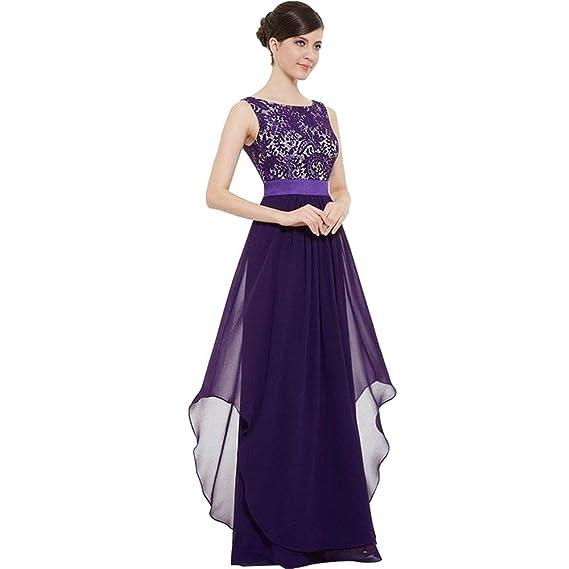 Yusealia Abito Donna Estivo Eleganti da Cerimonia Vestito Donna Lungo Lace  Splice f70dff32207