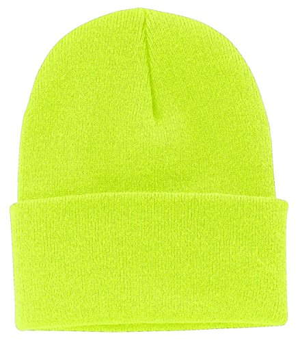 (Port Authority Perfect Warm Fleece Anti Pill Beanie_Neon Yellow_One Size)