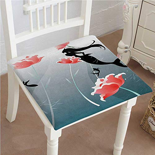 """Mikihome Chair Pad Soft Seat Cushion Swimming Silhouette Underwater Blossoms Freedom Expandable Polyethylene Stuffed Machine Washable 28""""x28""""x2pcs"""
