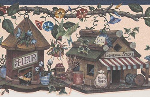 Birds Birdhouses Fantasy Wallpaper Border Retro Design, Roll 15' x 9'' ()
