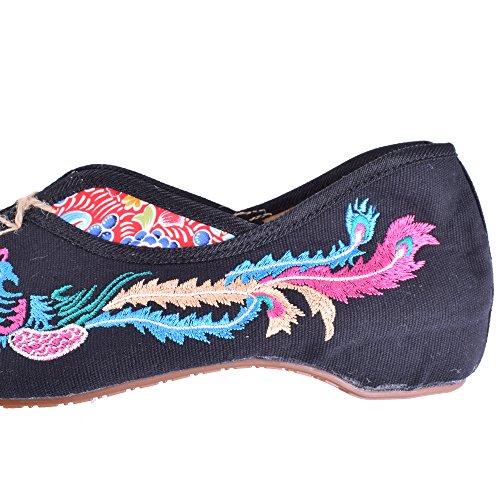 Vintage Broderi Skor Cancas Lägenheter Phoenix Broderade Bekväma Gamla Peking Dans Singlar Skor Svart