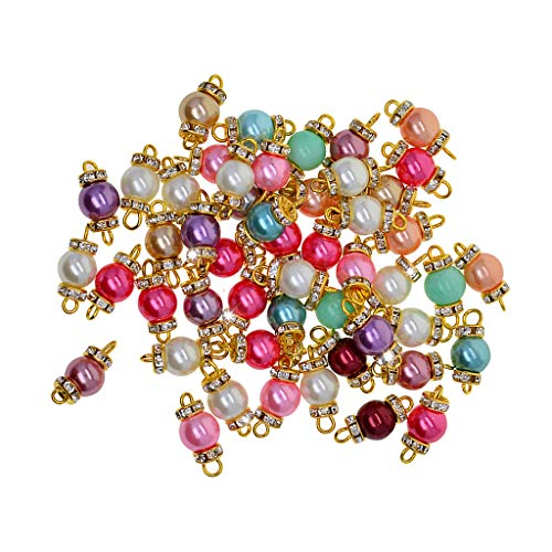 Baosity 50 Pieces Colorful Glass Pearl Beads Charms with Loop Wire and Rondelle Rhinestone Beads Pendant Connectors for Jewelry Making Necklace Earring - Gold