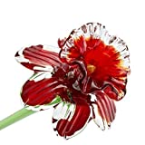Red Glass Daffodil Flower, One-of-a-kind. Life Size 20'' long. FREE SHIPPING to the lower 48 when you spend over $35.00