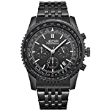 JEDIR Men Wrist Watch Chronograph Quartz Watches Analog Black Dial with Date Display Military Stainless Steel Band