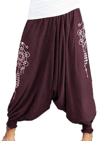 Domorebest Hombres Algodón + Lino Harem Pantalones Aladdin Genie Wide Crotch Ninja Pantalones: Amazon.es: Ropa y accesorios