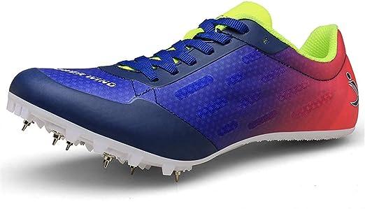 FJJLOVE Zapatillas de Atletismo Unisex Zapatillas de Cricket Zapatillas Profesionales de Clavos de 7 Clavos Zapatillas de Entrenamiento para competición,Azul,34: Amazon.es: Hogar