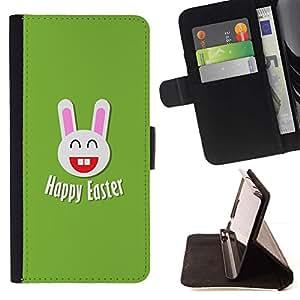 Momo Phone Case / Flip Funda de Cuero Case Cover - Felicidad Pascua Conejo blanco Orejas grandes - Huawei Ascend P8 Lite (Not for Normal P8)