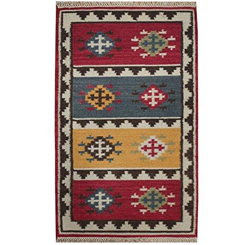 Herat Oriental Indo Hand Woven Tribal Vegetable Dye Kilim Wool Rug, 4' x 6', (Kilim Village)