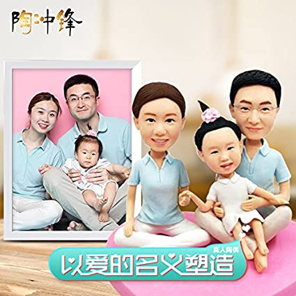 Custom character mode handmade customized from person photo making figure model Prizes Fathers Day to send parents a couple of nice polymer clay doll real fun personalized birthday gift toys Home & Kitchen