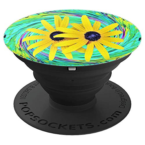 Yellow Rudbeckia Flowers on a Turquoise Garden Swirl - PopSockets Grip and Stand for Phones and Tablets