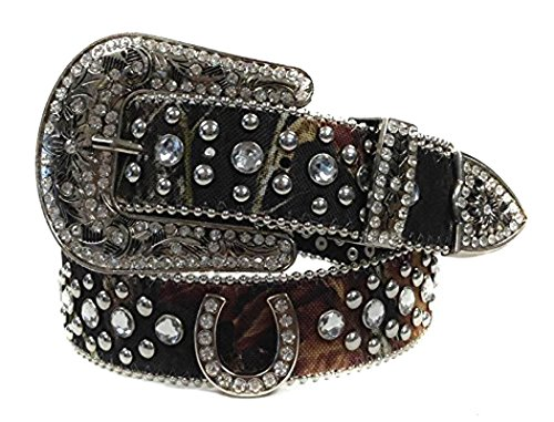 Deal Fashionista Camouflage Horse shoe Western Rhinestone Bling Studded Removable Buckle Belt