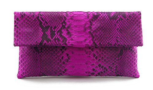 - Genuine Pink Motif Python Leather Classic Foldover Clutch Bag