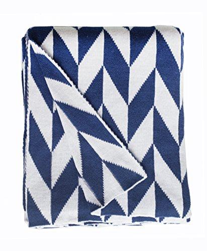 Metro Modern Sofa (Fab Habitat 100% Cotton Knitted Throw, Blanket - Monroe, Blue & White - 50