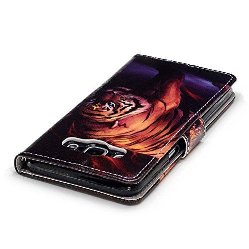 Funda Galaxy J5 2016 (J510F),SainCat Funda de cuero sintético tipo billetera con correa de cordón de Suave PU Carcasa Con Tapa y Cartera,Ranuras para Tarjetas y Billetera Funda de Flip Ranuras Tarjeta Tigre
