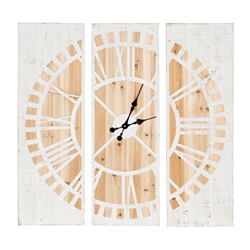 Cheap Kate and Laurel Piedmont 3 Panel Wood Wall Clock, White and Natural