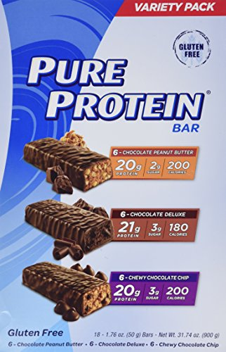 Pure Protein bar 3 Flavors Variety Pack Pure Protein 20g 18 Bars of 1.76 Oz Review