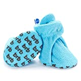 BirdRock Baby Fleece Baby Booties - Organic Cotton Lining and Anti-Slip Grippers (US 1, Hawaii Blue)