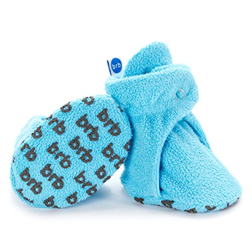 BirdRock Baby Fleece Baby Booties - Organic Cotton Lining and Anti-Slip Grippers (US 1, Hawaii Blue)