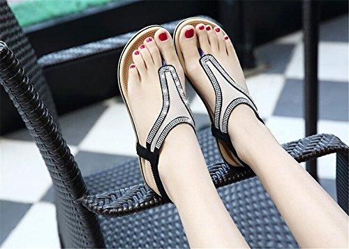 Comfortable Women Women Sandals pit4tk Summer Sandals Size Black Summer Flat Big tgqPfCWfw