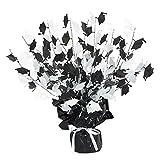 Club Pack of 12 Black and White Foil Spray Graduate Cap Gleam 'N Burst Centerpieces 15''
