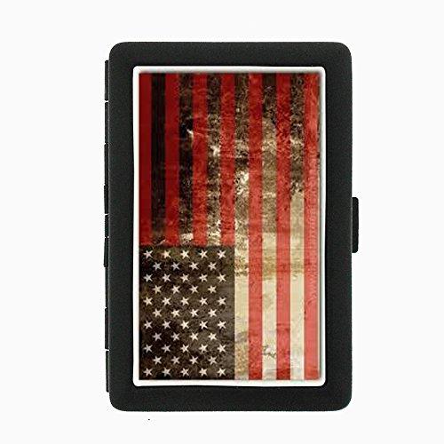 Vintage American Flag D5 Black Metal Cigarette Case Patriotic Freedom American Heroes ()