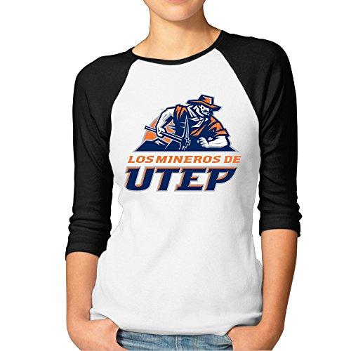 MBMH Women's University Texas At El Paso Raglan Baseball T Shirt Black (El Paso Black Mens Boots)