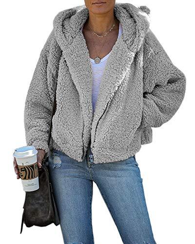 Dellytop Womens Fuzzy Fleece Hooded Sherpa Jacket Long Sleeve Winter Warm Zip Up Coat Outwear