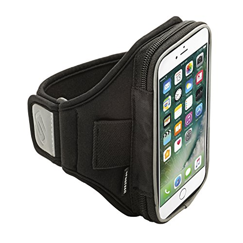 Sporteer V160 Armband for iPhone 7 Plus, iPhone 6S Plus, Google Pixel XL, Galaxy S7 Edge, S6 Edge +, Note 5, Moto G4/G4 Plus, Moto Z, Nexus 6P, and Other Phones w/ Cases - Strap Size S/M (Black)