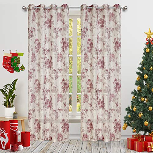 Gold Dandelion Red Rose Flower Print Curtains White Honeycomb Lace with Fancy Floral for Living Room 2 Panels Eyelet/Ring Top Transparent and Soft Rose Theme for Bedroom Door Curtain 63 ()