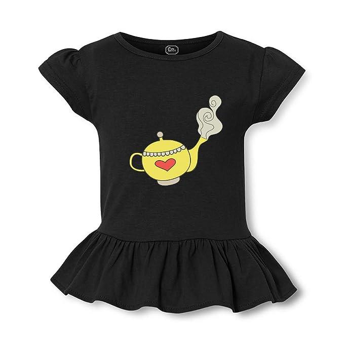0423e5b3b2d Amazon.com  Yellow Teapot Short Sleeve Toddler Cotton Girly T-Shirt ...