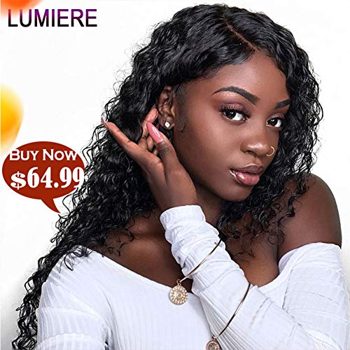 (LUMIERE Hair Glueless Unprocessed Brazilian Virgin Human Hair Wigs for Black Women 13X4 Water Wave Lace Front Wigs with Baby Hair Pre Plucked Natural Color 10inch 150% Density)