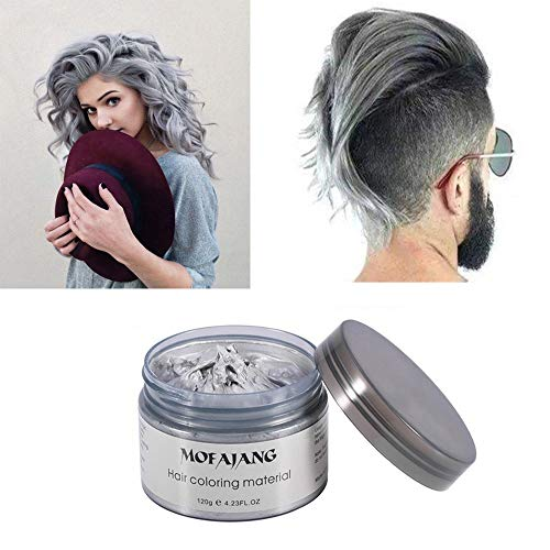 MOFAJANG Silver grey Hair Color Wax, Natural Hairstyle Wax 4.23 oz, Temporary Hairstyle Cream for Party, Cosplay, Halloween, Daily use, Date, Clubbing (Silver Grey) -